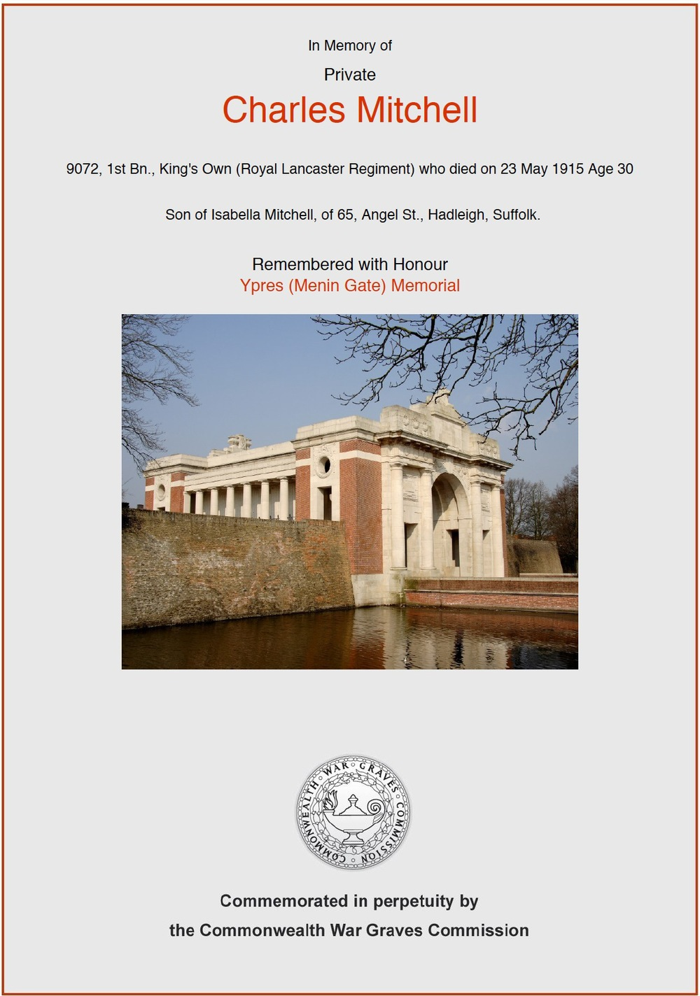 Charles Mitchell's CWGC Commemorative Certificate