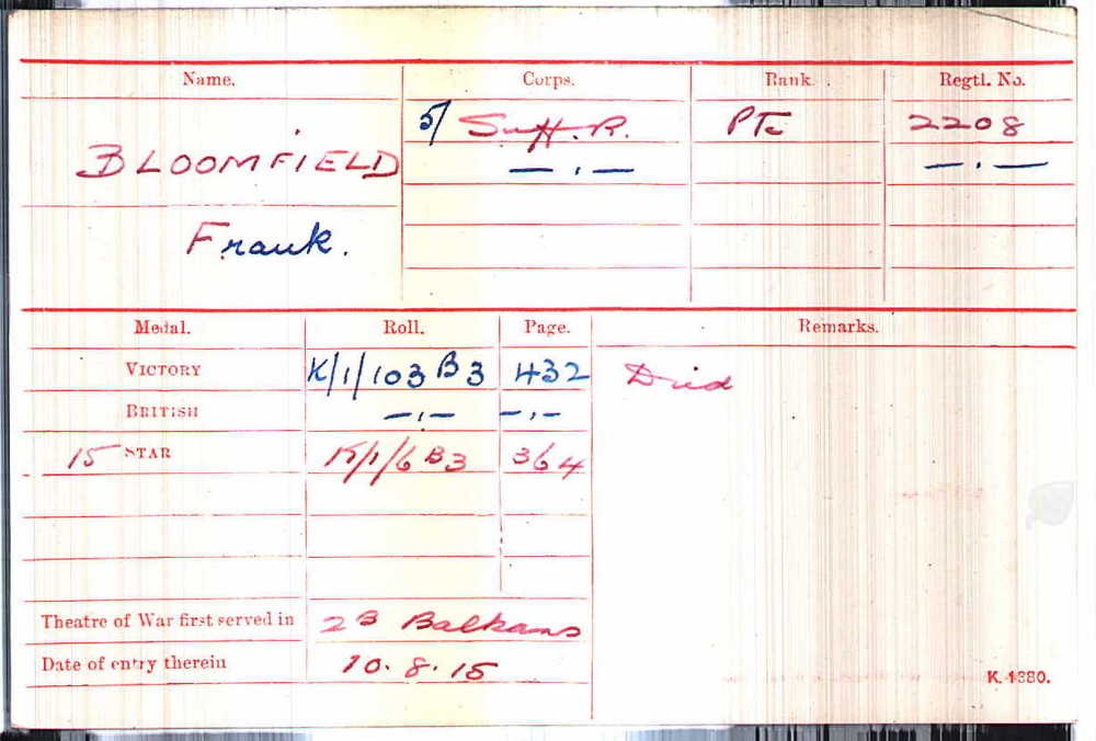 Frank Bloomfield's Medal Card