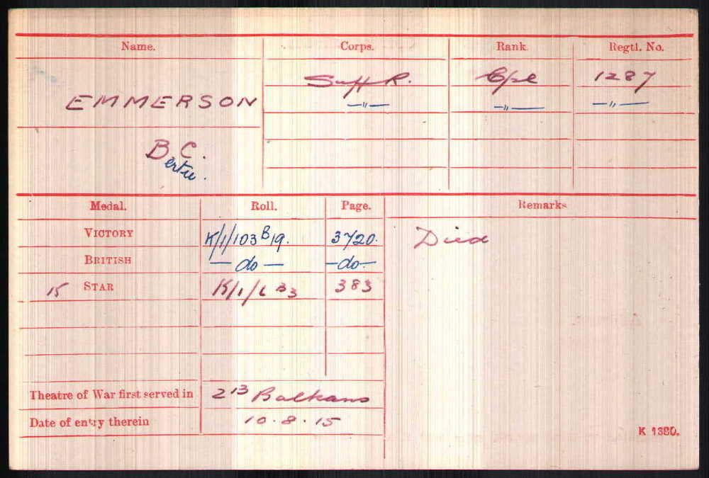 Bertie Charles Emmerson's Medal Card