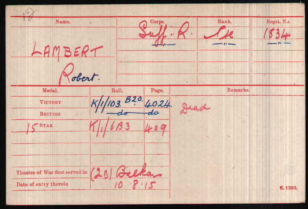 Robert Lambert's Medal Index Card