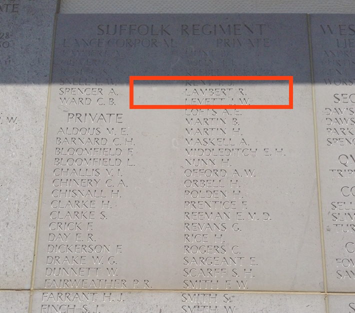Robert's name engraved on the Helles Memorial alongside his fallen comrades