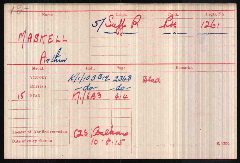 Arthur Maskell's Medal Card