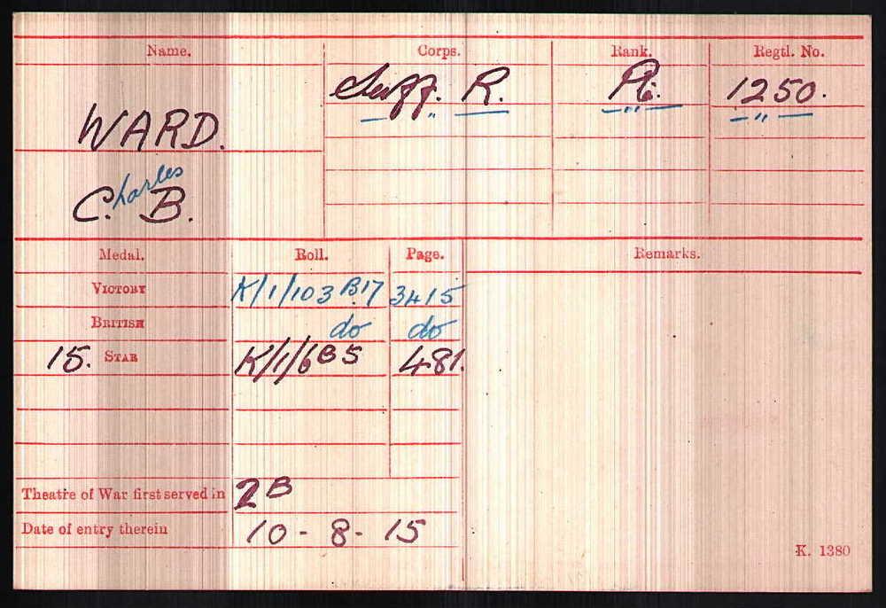 Charles Bennett Ward's Medal Index Card