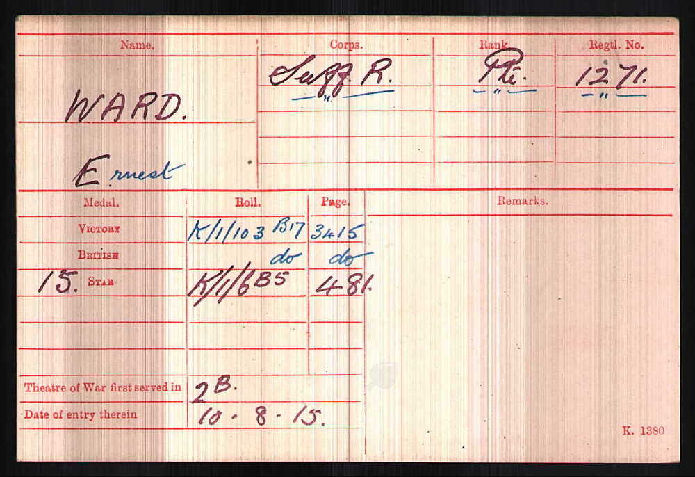 Ernest Ward's Medal Index Card