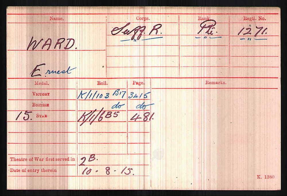 Ernest Ward's Medal Index Card