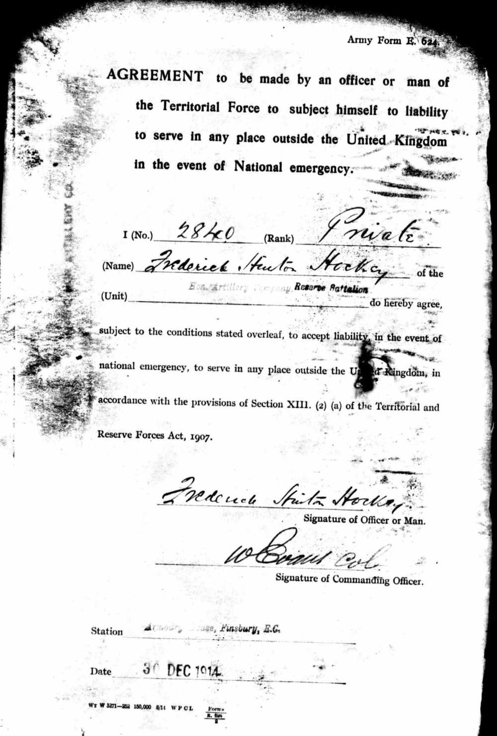 Frederick's agreement to serve overseas