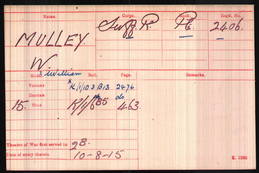 William Mulley's Medal Index Card