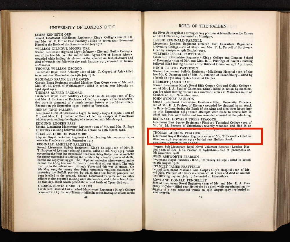 Thomas Gordon Peacock Uni of London OTC memorial book highlighted.jpeg