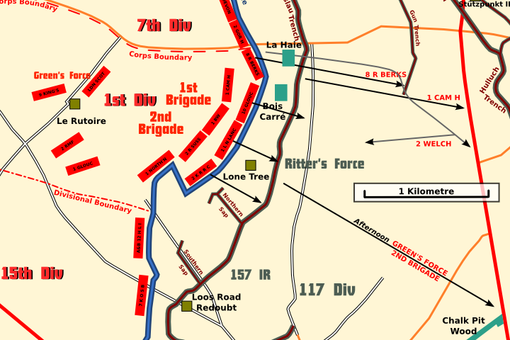 A section of the Loos battlefield map showing 1 Div positions on 25 September 1915