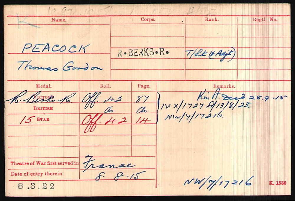 Lieutenant Peacock's Medal Index Card