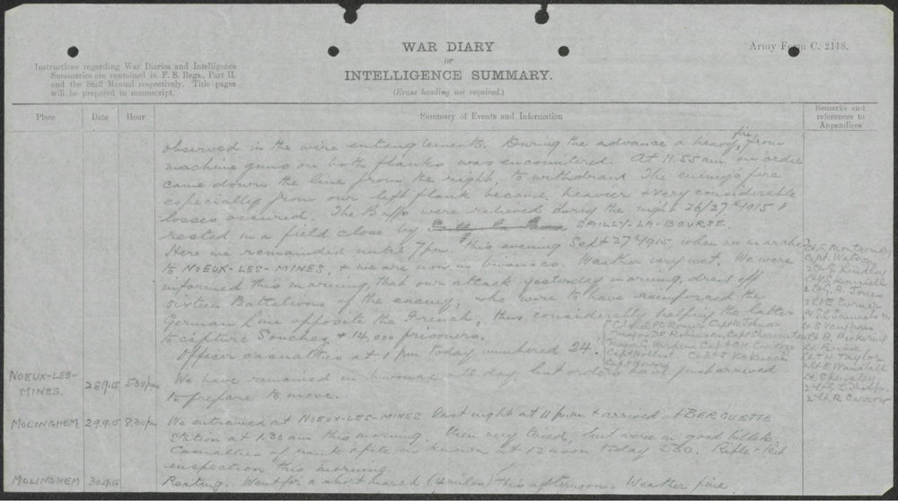 War diary noting the number of casualties.