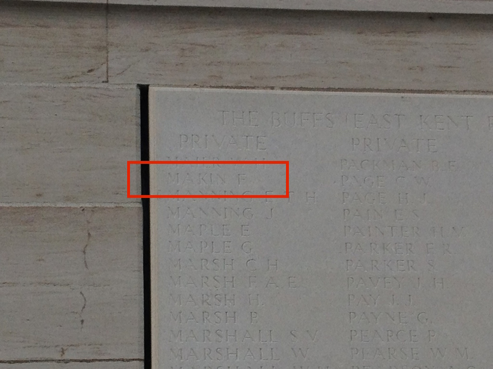 Name engraved on memorial wall at Dud Corner