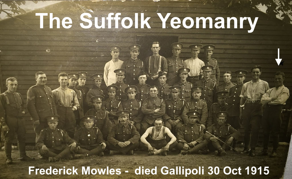 The Suffolk Yeomanry at a training camp in England before departing for Gallipoli