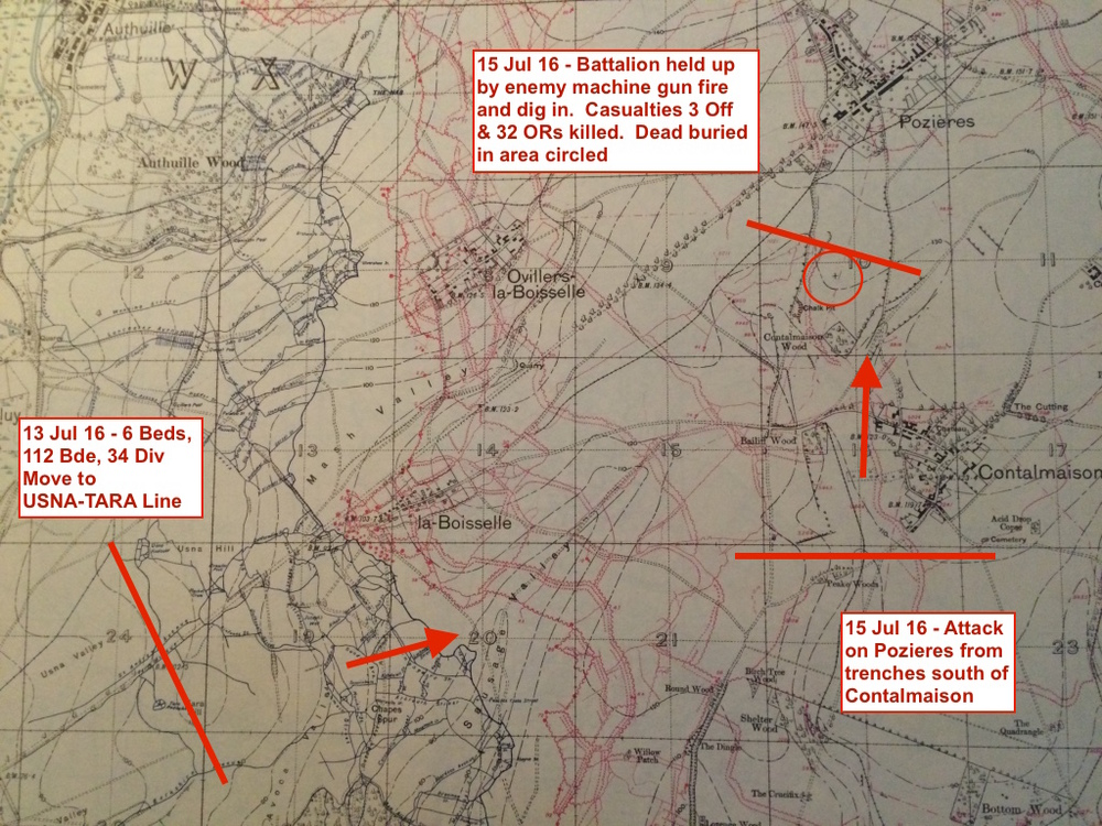 1916 trench map showing the positions and direction of travel of the 6th Bn Bedfordshire Regt. The circle indicates where Nelson was initially buried.