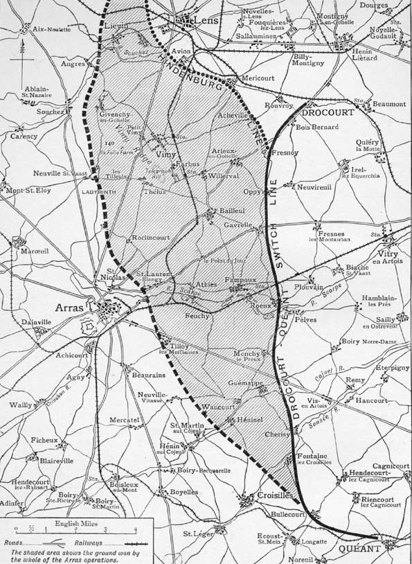 The shaded area shows the ground captured during the 1917 battle of Arras