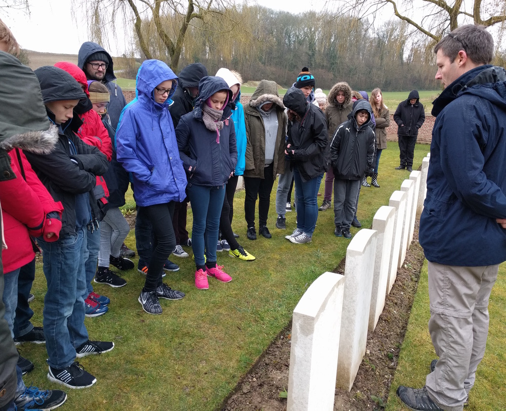 Students from Hadleigh High School visiting the final resting place of Private Stanley William Corder