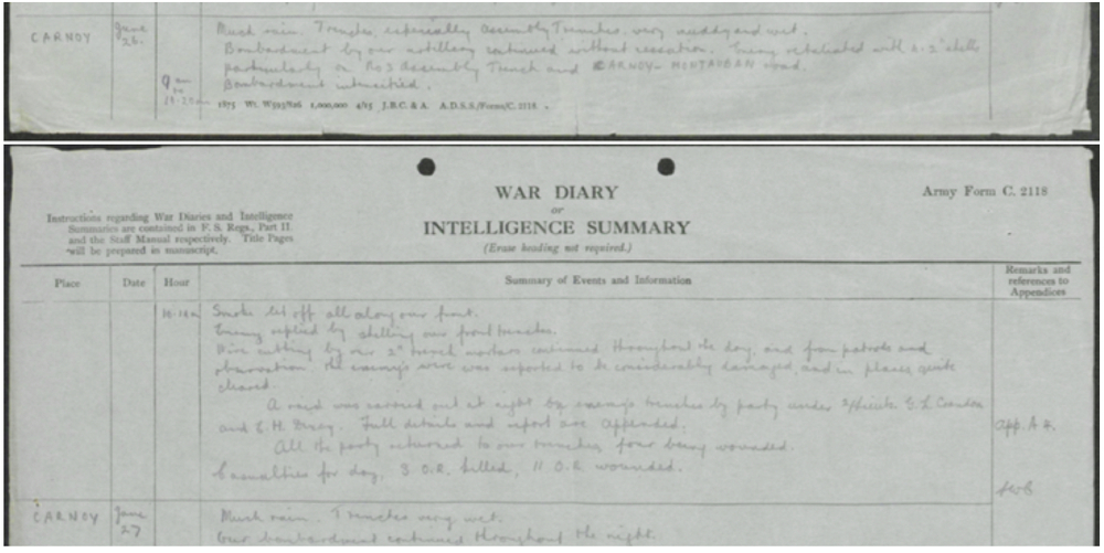 Corder 8 Suffolks War Diary 26 Jun 16.jpg