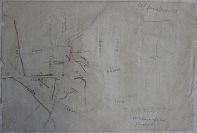 Sketch map of Longueval from a 1916 war diary.  Duke Street is shown to the North of the village and Delville Woods is the area to the East.