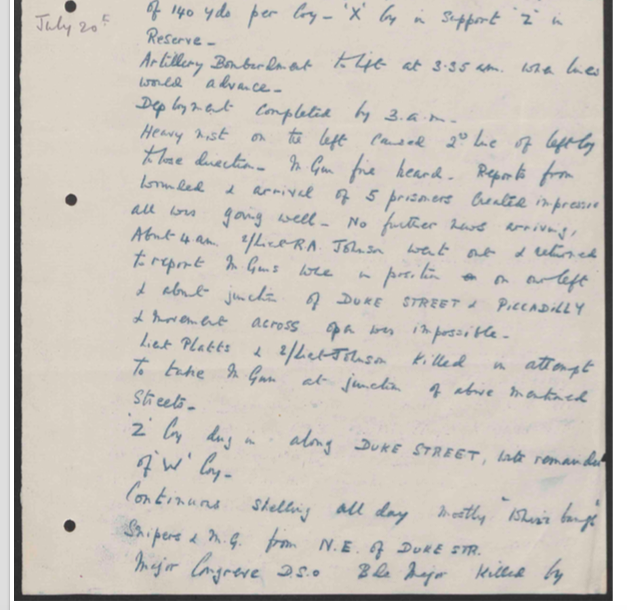 2Bn war diary entry for 20 July 1916