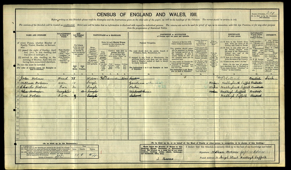 1911 Census - 11 Angel Street