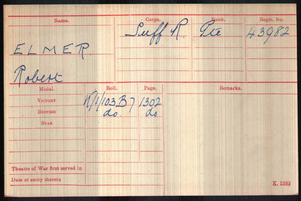 Robert Elmer's Medal Card