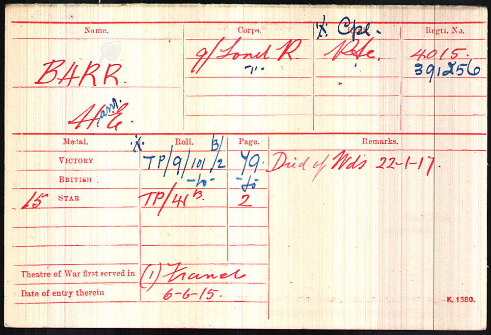 Corporal Barr's Medal Index Card