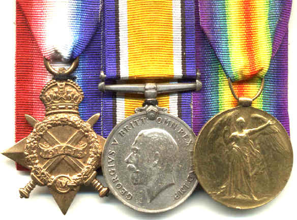 The whereabouts of Ernest's actual medals is unknown, but he was entitled to the above three medals.
