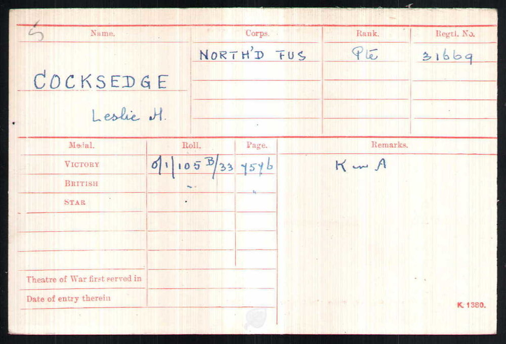 Pte Cocksedge's Medal Index Card
