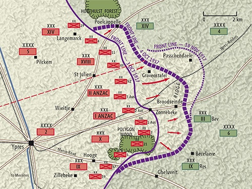 Front lines in early October 1917