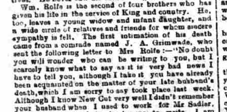 News article showing letter from J A Grimwade.