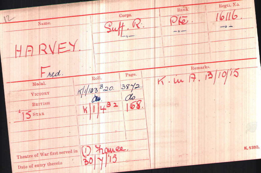 Private Harvey's Medal Index Card