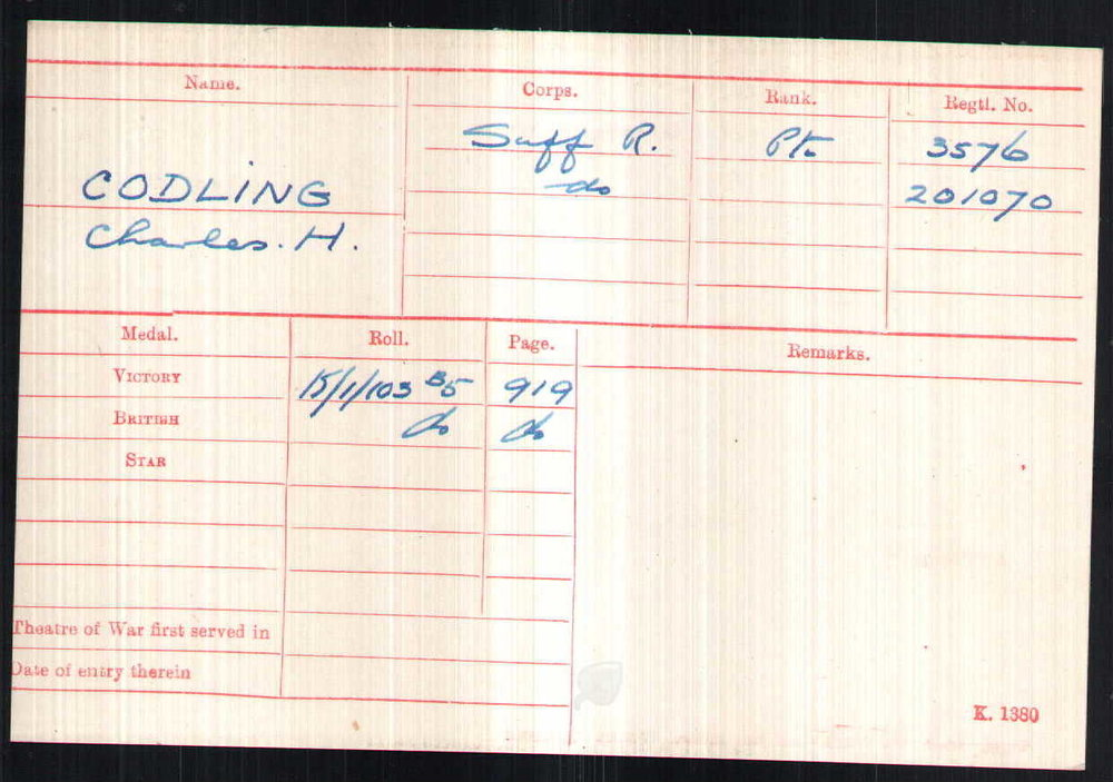 Private Codling's Medal Index Card.