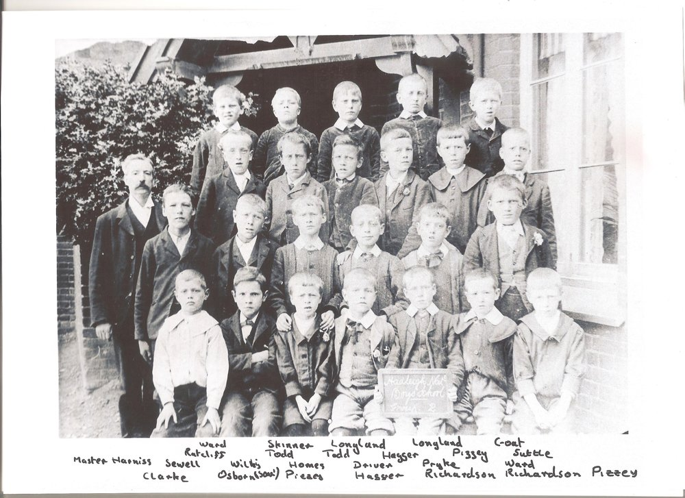 This school photograph from 1901 shows the head master Mr Harris on the left and Robert Ward on the right of the second row.  Even at 11 years old, Robert was boy of great stature standing head and shoulders above his peers.
