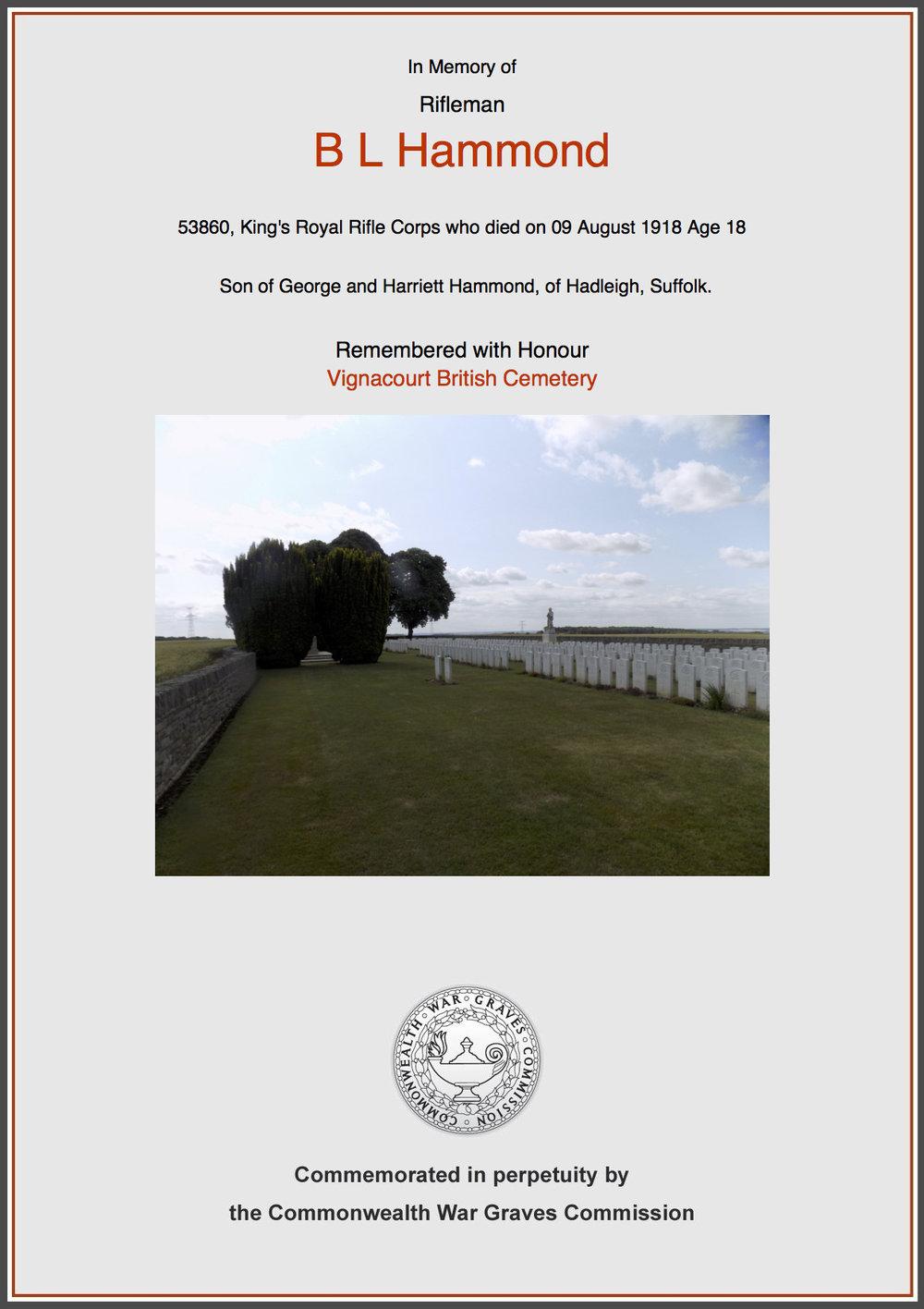 Rifleman Bertie Leslie Hammond's commemorative certificate