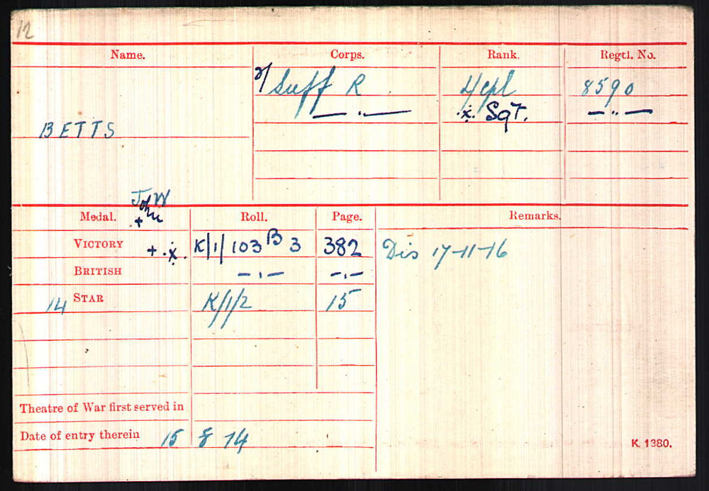 Medal Index Card showing date he arrived in France.