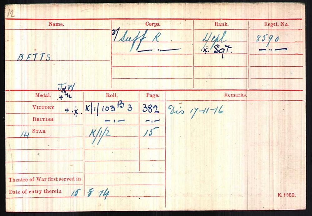 Medal Index Card showing date he arrived in France.