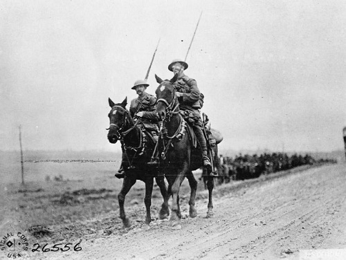 9th Lancers returning from the Front, Premont, Aisne, 13 October 1918. From the American First World War Official Exchange Collection at the Imperial War Museum image Q72605.
