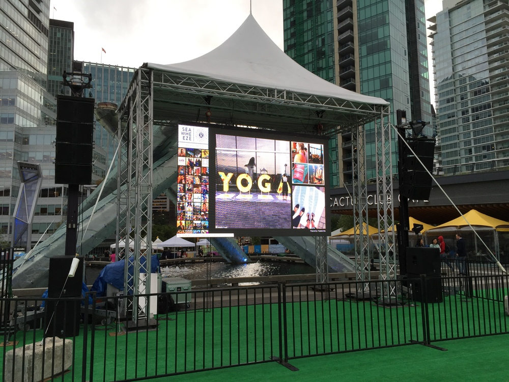 Huge screen at Jack Poole Plaza!