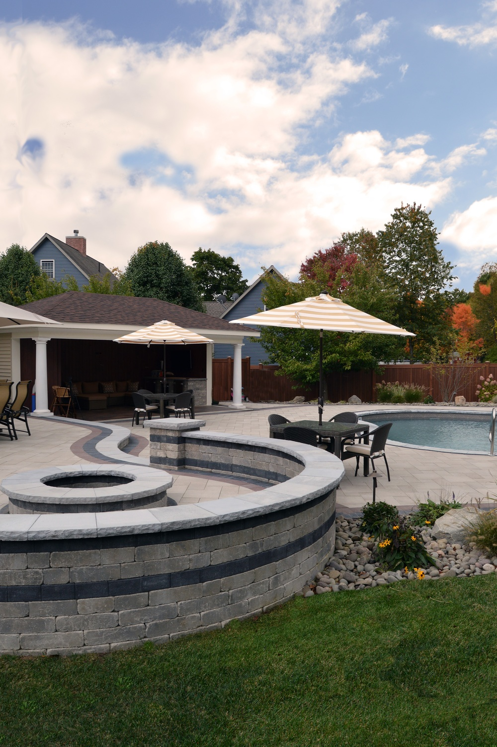 An outdoor entertaining paradise in Orange County, NY — designed and installed by Landworx of NY.