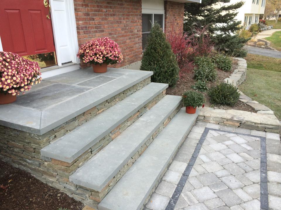 front steps landscaping bluestone in bethel, goshen, warwick, pine island, ny