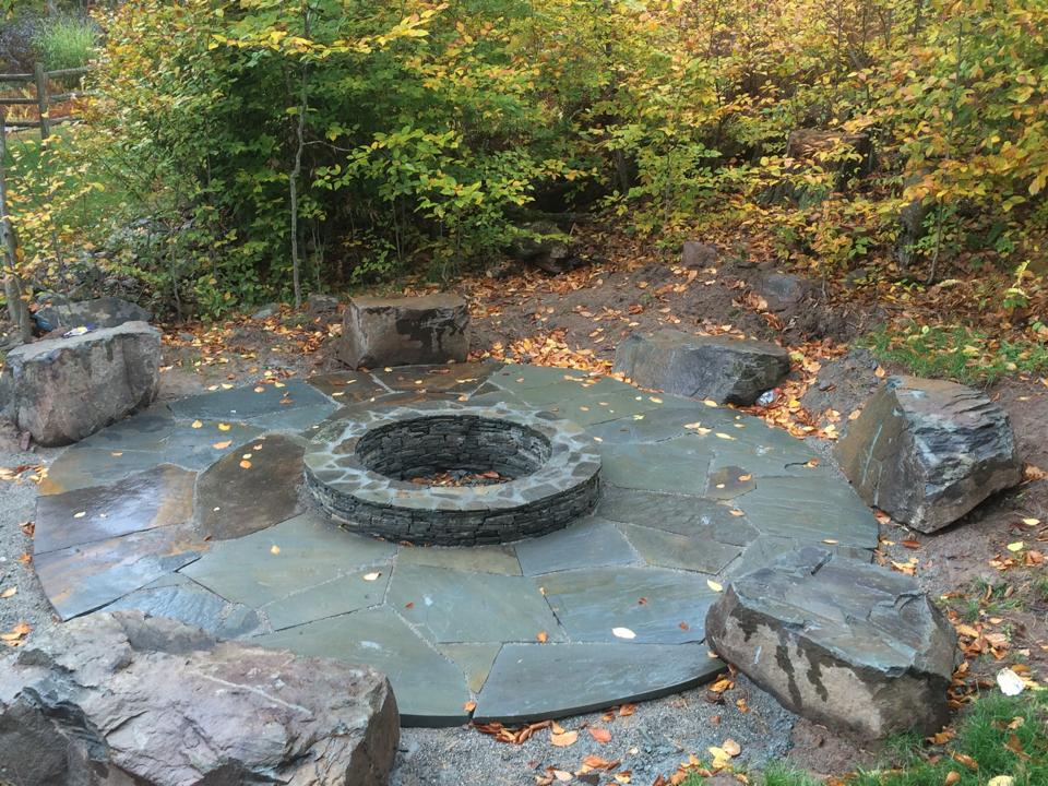 fire pit with natural stone bluestone in warwick and goshen, ny
