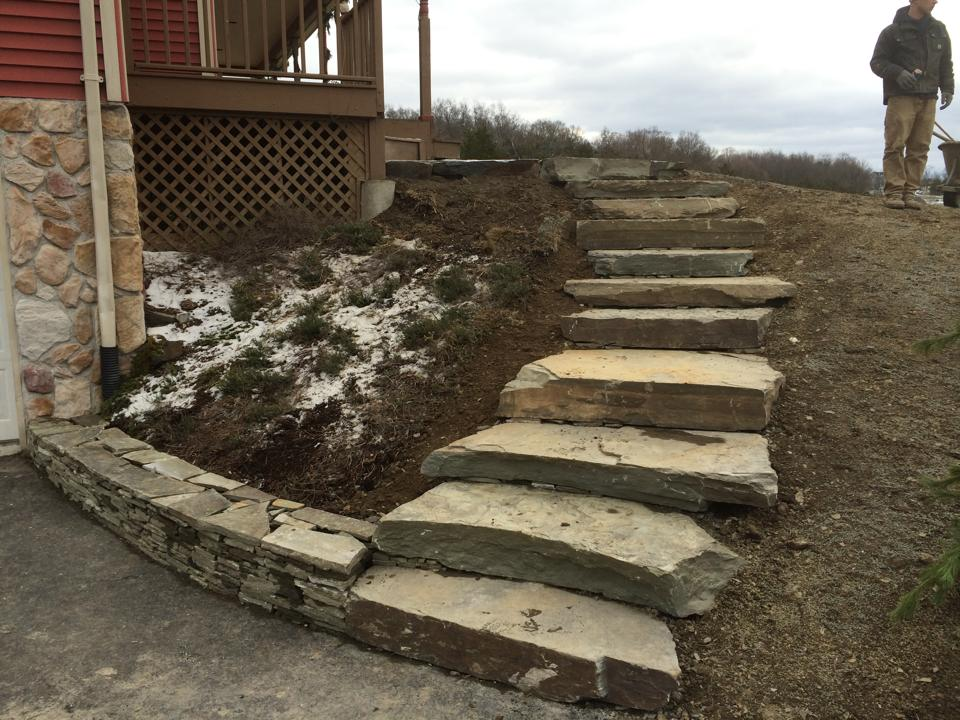 Landscaping iedas in Goshen, New York - natural stone steps