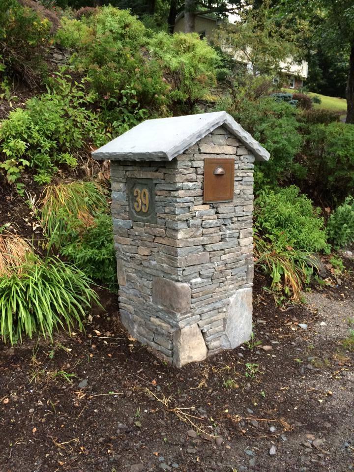stone mailbox landscaping in goshen, warwick, pine island, ny
