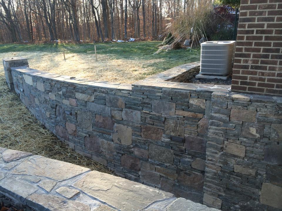Stone retaining wall in Chester NY