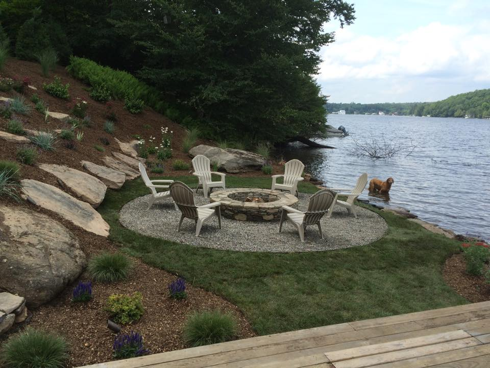 Lake Tennanah fire pit and patio by Landworx of NY.