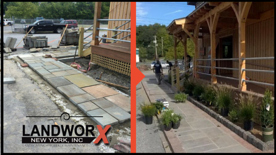 A during and after shot of the bluestone front walkway at Roe Brothers in Florida, NY.