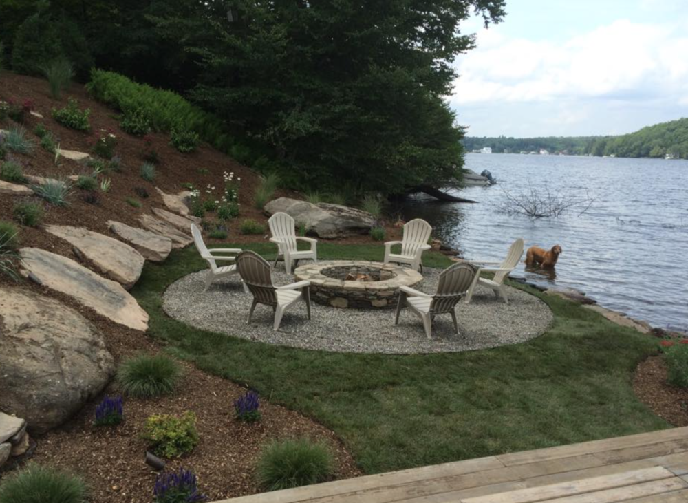 fire pit landscaping by lake in pine island, ny