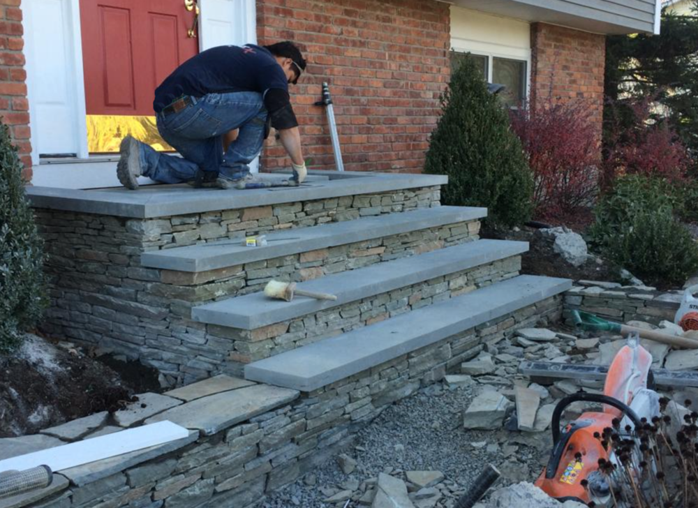 Bluestone patio, bluestone porch | repair concrete with overlays