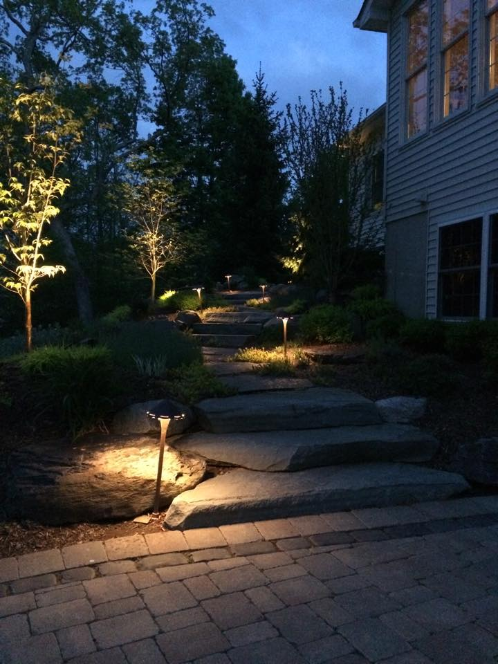 An outdoor lighting project by Landworx in Hudson Valley, NY