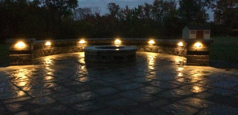 landscape lighting for a fire pit.
